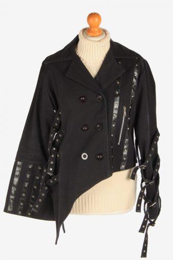 Women's Gothic Style Jacket Designer Button Up Vintage Size L Black C3033