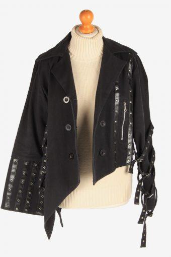 Women's Gothic Style Jacket Designer Button Up Vintage Size L Black C3033-163338