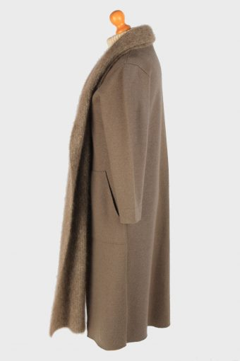 Women's Wool Overcoat Cardigan Vintage Size S Khaki C3034-163344