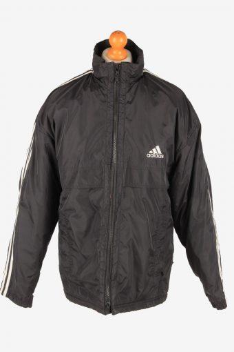 Adidas Puffer Outdoor Coat Mens Zip Up Vintage Size L Black C3083