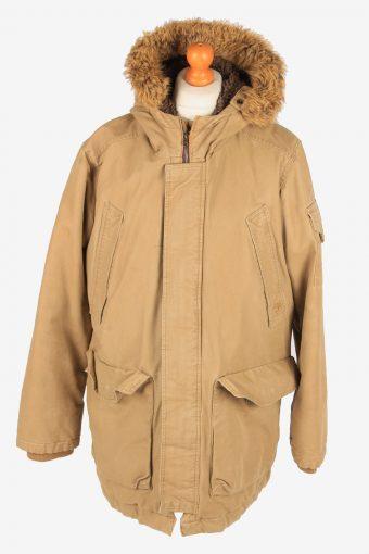 Timberland Overcoat Hooded Mens Zip Up Vintage Size XL Beige C3091