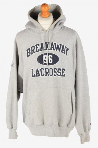 Champion Hoodie Sweatshirt 90s Retro Grey XL