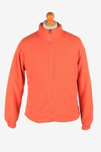 Fleece Jacket Top Full Zip Thermal Orange M