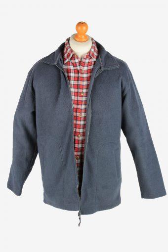 Fleece Jacket Top Full Zip Thermal Vintage Size L Dark Grey -SW2729-160642