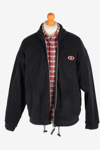 Fleece Jacket Top Full Zip Thermal Vintage Size L Black -SW2730-160648