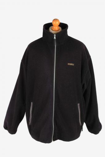 Fleece Jacket Top Full Zip Thermal Black XXL