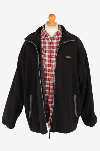 Fleece Jacket Top Full Zip Thermal Vintage Size XXL Black -SW2731-160654