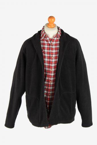 Fleece Jacket Top Full Zip Thermal Vintage Size XL Black -SW2732-160660