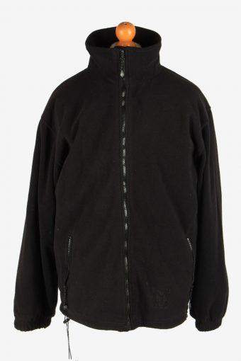 Fleece Jacket Top Full Zip Thermal Black XL