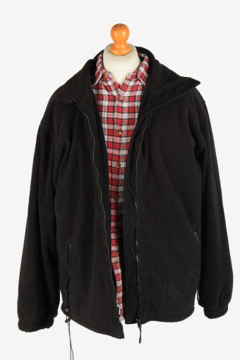 Fleece Jacket Top Full Zip Thermal Vintage Size XL Black -SW2733-160666