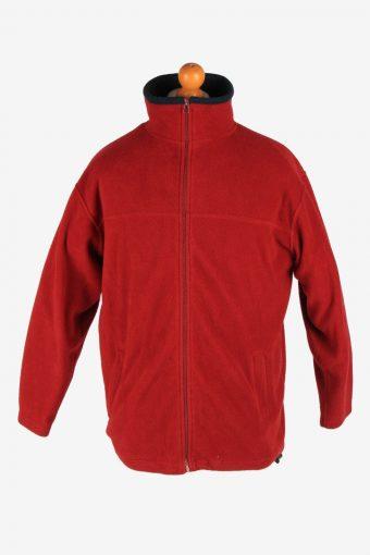 Fleece Jacket Top Full Zip Thermal Maroon M