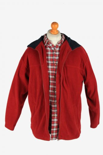 Fleece Jacket Top Full Zip Thermal Vintage Size M Maroon -SW2734-160672