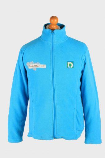 Fleece Jacket Top Full Zip Thermal Light Blue M