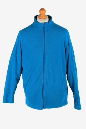Fleece Jacket Top Full Zip Thermal Blue M