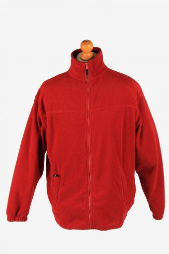 Fleece Jacket Top Full Zip Thermal Red L