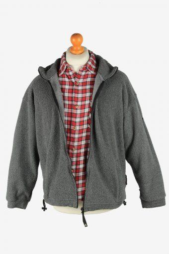 Fleece Jacket Top Full Zip Thermal Vintage Size L Dark Grey -SW2738-160696