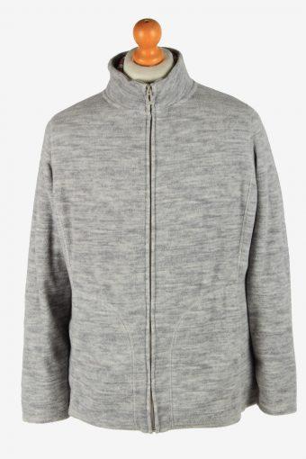 Fleece Jacket Top Full Zip Thermal Grey L