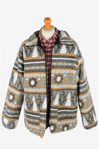 Fleece Jacket Tracksuit Top Full Zip Thermal Vintage Size L Multi -SW2743-160726