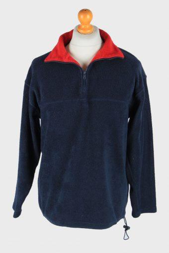 Fleece Tracksuit Top Half Zip Thermal Vintage Size M Navy -SW2745-160738