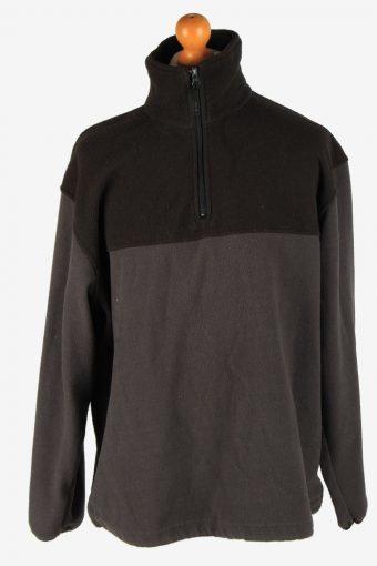 Fleece Track Top Half Zip Thermal Dark Brown L