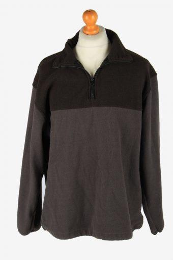 Fleece Tracksuit Top Half Zip Thermal Vintage Size L Dark Brown -SW2746-160744