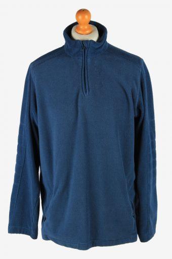 Fleece Track Top Half Zip Thermal Blue L