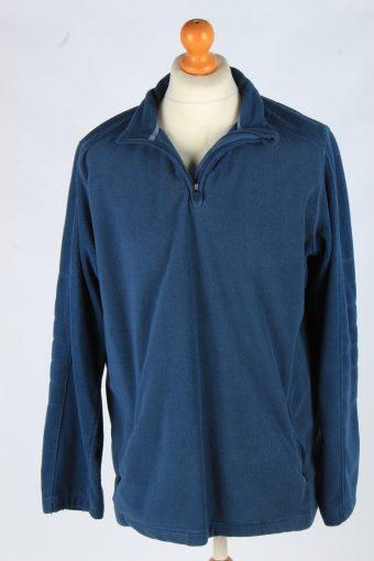 Fleece Tracksuit Top Half Zip Thermal Vintage Size L Blue -SW2747-160750
