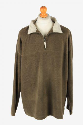 Fleece Tracksuit Top Half Zip Thermal Vintage Size XXXL Brown -SW2749-160762