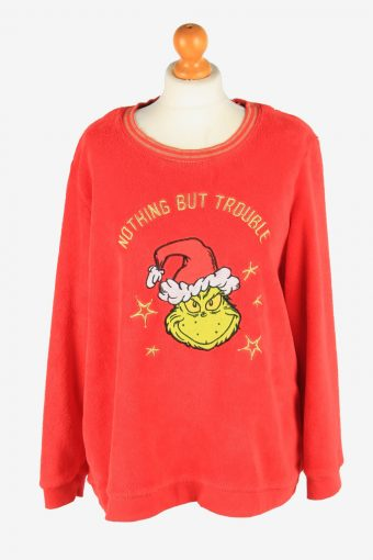 Fleece Sweatshirt The Grinch Womens Warm Red XL