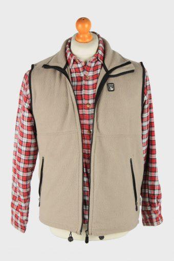 Fleece Gilet Full Zip Thermal Vintage Size M Light Brown -SW2755-160798
