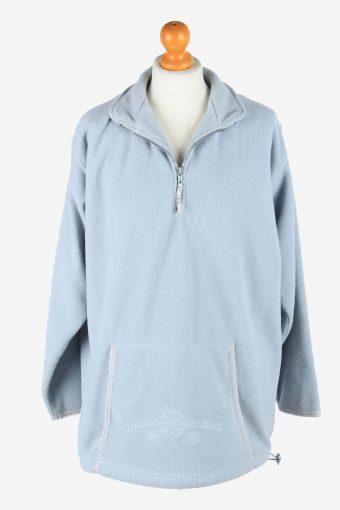 Womens Fleece Tracksuit Top Thermal Vintage Size L Light Blue -SW2756-160804