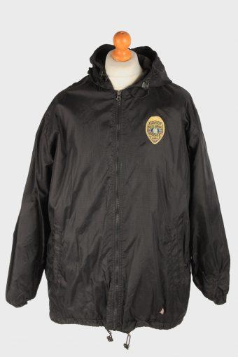 Dickies Mens Rain Coat Polar Lined Outdoor Police Vintage Size XL Black C3047