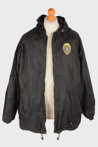 Dickies Mens Rain Coat Polar Lined Outdoor Police Vintage Size XL Black C3047-163422