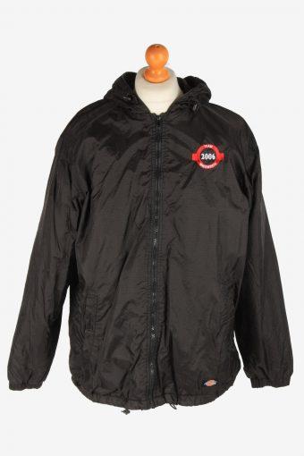 Dickies Mens Rain Coat Polar Lined Workwear Vintage Size L Black C3048