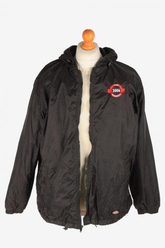 Dickies Mens Rain Coat Polar Lined Workwear Vintage Size L Black C3048-163428
