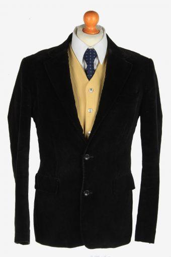Mens Velvet Blazer Jacket Lined Black M