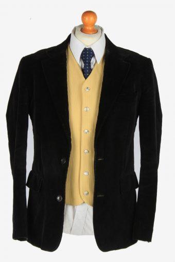 Mens Velvet Blazer Jacket Lined Casual Vintage Size M Black -HT3092-166546