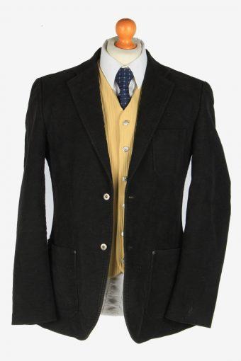 Mens Velvet Blazer Jacket Lined Casual Size M Black -HT3093-166552