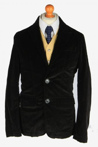 Mens Velvet Blazer Jacket Lined Black S