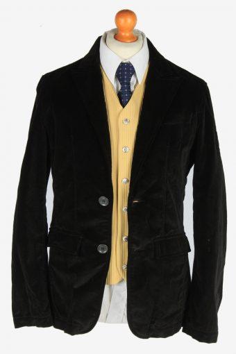Mens Velvet Blazer Jacket Lined Casual Size S Black -HT3094-166558