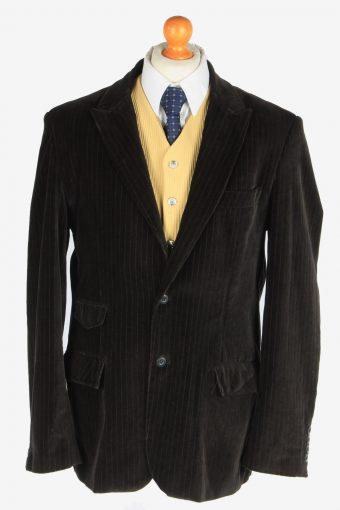 Mens Velvet Blazer Jacket Lined Black XL