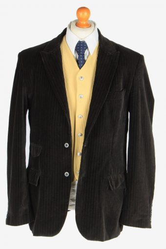 Mens Velvet Blazer Jacket Lined Smart Size XL Black -HT3096-166570