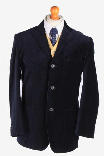 Mens Velvet Blazer Jacket Lined Navy Blue L