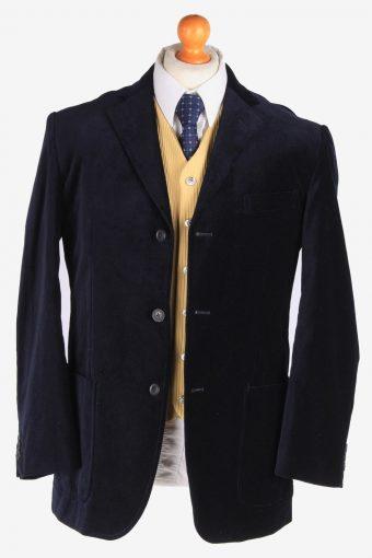 Mens Velvet Blazer Jacket Lined Suit Size L Navy -HT3099-166588