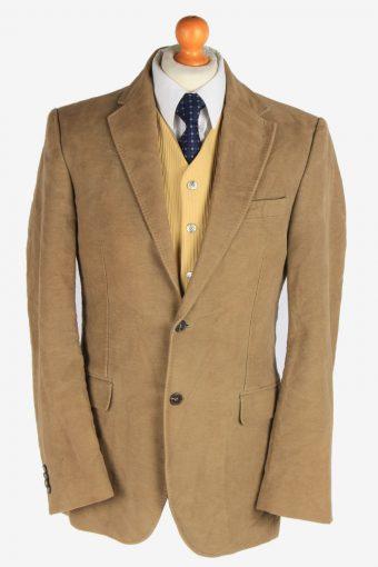 Mens Velvet Blazer Jacket Lined Light Brown L
