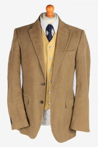 Mens Velvet Blazer Jacket Lined Casual Size L Light Brown -HT3101-166600