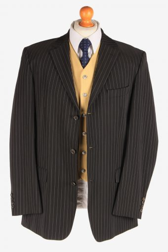Hugo Boss Mens Wool Strech Blazer Jacket Lined Casual Vintage Size XL Black -HT3116-166690