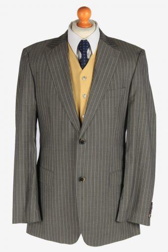 Hugo Boss Mens Stripes Blazer Jacket Super 140 Grey XL