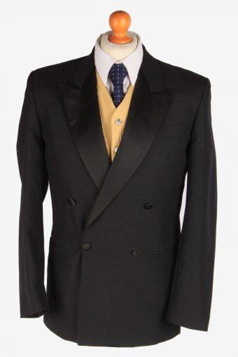 Blazer Jacket Mens 90s Retro Button Up Lined Black S