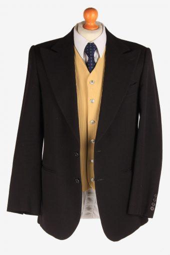 Blazer Jacket Suit Button Up Wool Smart Vintage Size M Black -HT3130-166774